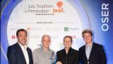 Guillaume Belle et Asbed Kechichian d'Evercleanhand ont reçu leur prix des mains d'Erick Lelouche (Boehringer Ingelhmeim) et Paul-Armel Junne (Mazars) - bref eco