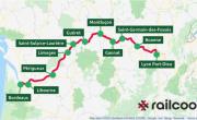 une carte de France indiquant en vert les principales gares desservies et le trajet de la ligne Bordeaux-Lyon