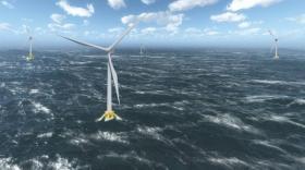 Ferme d'éoliennes en mer.