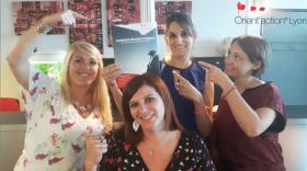de gauche à droite : Lydie Servos, Virginie Thouret, Sophie Bour, Caroline Loffredo.