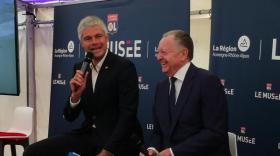 Laurent Wauquiez et Jean-Michel Aulas à la présentation d'OL le musée.