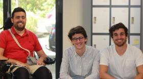 Marco Petitto, Florian Blanchet et Sébastien Guillot dans les locaux de Ronalpia.