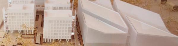 A gauche, la maquette du nouveau pôle médical de Décines à côté du pôle de loisirs