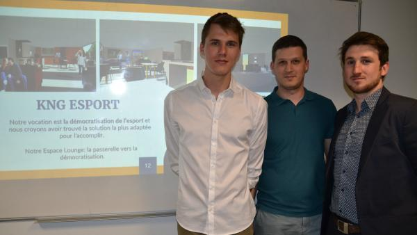 L'équipe de KNG eSport : Jean-Noël Charlier, Valentin Basset et Kevin Cary