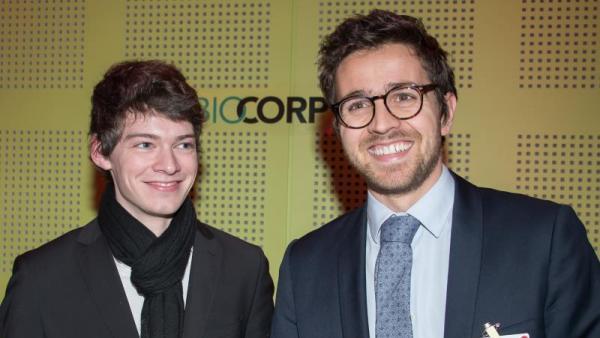 Matthieu Hamon et Eric Dessertenne de Biocorp aux Trophées de l'Innovation BrefEco 2017.