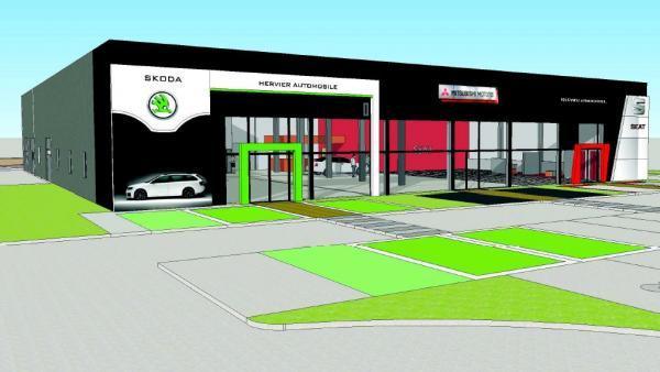 un plan d'architecte montrant la future concession Hervier Automobile