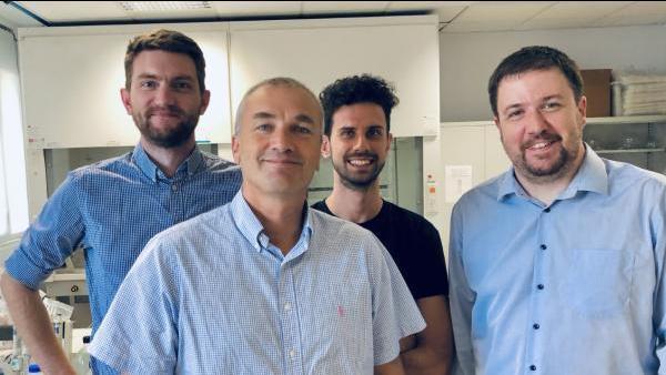 L'équipe de MexBrain (de g. à d.) : Thomas Brichart, Olivier Tillement, Marco Natuzzi et François Lux.