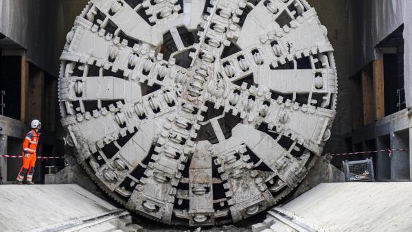 Le tunnelier de la ligne B du métro lyonnais avance