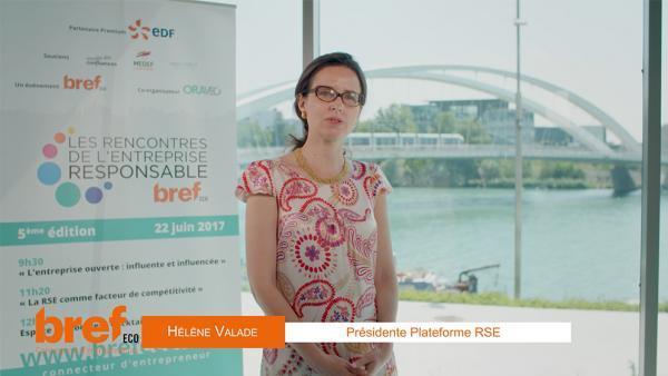 Hélène Valade, présidente de la plateforme RSE (France Stratégie) et directrice développement durable chez Suez.